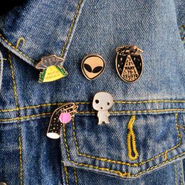 estrangeiros engraçados Desconto Eu quero acreditar letra broche ufo alien X-files esmalte pin badge UFO pin Pino alienígena Pinos de espaço engraçado drop shipping