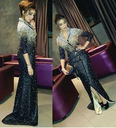Wholesale Black Bling Buttons - 2018 Bling Sheath Evening Dresses with 3 4 Long Sleeves V Neckline Lapel Sweep Train Buttons Beadeds Sexy Party Prom Gowns