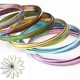 Wholesale Cool Metal Toys - 9 Colors Flow Toys Arm Slinkey Toy Flow Rings Kinetic Spring Bracelet Science Educational Sensory Interactive Cool Toys CCA9279 50pcs