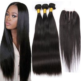 8A Straight Brazilian Human Hair Extensions 4 Bundles con cierre Malaysian Peruvian Indian Hair Body Hair desde fabricantes
