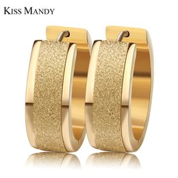 Wholesale Width 7mm - whole saleKISS MANDY 3 Layers Gold- color Silver Color Round Hoop Earrings With 7mm Frosting Surface Width Women Earrings Aretes FE15