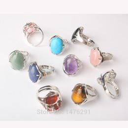 Wholesale Fashion Oval Stone Ring - whole saleNew Stylish Silver Plated Oval Mix-Crystal Stone Resizable Quartz Ring Fashion Jewelry Ring 1PCS