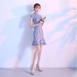 Wholesale Girls Qipao - The improved version of the qipao woman summer 2018 short style fishtail skirt dress the fresh and elegant girl qipao dress summer.