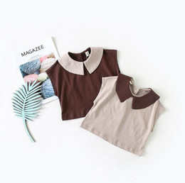 Wholesale coffee spring - INS New kid clothing girl shirt short sleeve pet pan collar solid coffee color design girl shirts summer 100% cotton girl kids baby clothing