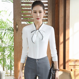 Wholesale Woman Wearing Business Suits - Novelty White Long Sleeve Formal Pantsuits With 2 Piece Blouses And Pants Professional Business Suits Women Work Wear Outfits