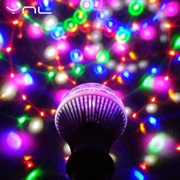 Wholesale Led Disco Ball Light E27 - YNL LED Lamp Crystal Stage Light RGB 6W E27 Colorful Magic crystal Ball DJ Disco Party KTV Home effect Bulb Auto Rotating Lamp