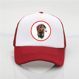 ball trends Promo Codes - Fashion hat Tupac Shakur printing net cap baseball cap Men and women Summer Trend Cap New Youth Joker sun hat Beach Visor hat