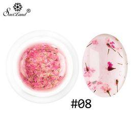 Flores secas uñas al por mayor online-Venta al por mayor bricolaje de flores secas naturales de uñas de hadas gel polaco floral remojo de manicura UV Nail Art Gel pegamento
