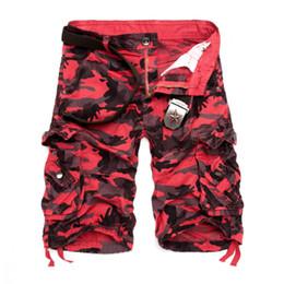 Wholesale Men S Work Pants - 2018 Men Camouflage Cargo Shorts 2016 New Brand Male Army Loose Cargo Pants Men Casual Work Short Pants Plus Size No Belt