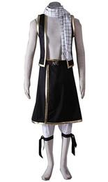 Lenços uniformes on-line-Fairy Tail Natsu Dragneel Traje Cosplay Cachecol Calças Halloween Party Uniforme