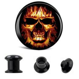 Venta al por mayor oreja tapones cráneo fuego acrílico tornillo Fit Flesh Tunnel Eyelet Body Piercing joyería 6mm-25mm AW40324 desde fabricantes
