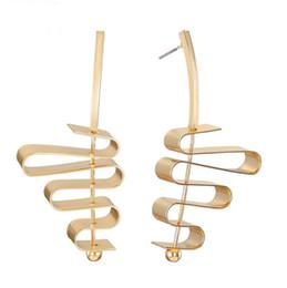 EUROPA Personalized Fashion Ciondola Geometric Gold / Silver Statement Copper Earrings Ultimi nuovi design 3x7 cm Drop Shipping Jewelry da disegno orecchino geometrico fornitori
