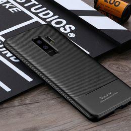 Wholesale Carbon Fiber Tpu - Wholesale iPaky Case For Samsung S9 Soft Durable Carbon Fiber Back Cover Samsung S9 Plus TPU Soft Cases