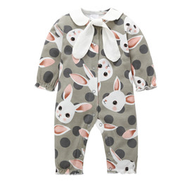 Wholesale One Piece Baby Clothes - 2018 New Baby Clothing Long Sleeve Rabbit Printed Romper Newborn Baby Girls Jumpsuit Infant Girls Spring Autumn One-Pieces Outfits Clothes