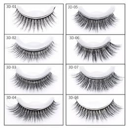 Wholesale mink eyelashes glue - Self Adhesive Mink Cross Fake Eye Lashes 8 Styles No Glue Eye Makeup Natural Long Black Extension Eyelashes