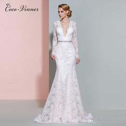 Wholesale long slim lace wedding dresses - C.V Sexy Deep V neck Long Sleeve Lace Mermaid Wedding Dress Slim Design Crystal Sash Illusion Custom Made Bridal Wedding Dresses W0206