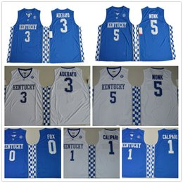 Wholesale kentucky jersey - Kentucky Wildcats College Jerseys 5 Malik Monk 3 Edrice Adebayo 1 Calipari 0 DeAaron Fox Stitched 23 Anthony Davis University Jersey
