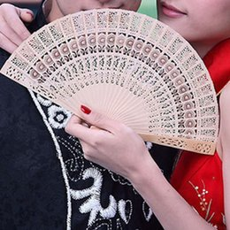 Wholesale Personal Fans - 2 styles Fashion Sandalwood hand hold folding fans Sunflower Print Openwork Personal fan Home Decoration Crafts Gifts GGA148 50PCS
