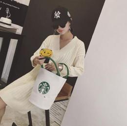 2019 großhandel leinwand tragetaschen marken Großhandels-Frauen berühmte Starbucks nette Einkaufenhandtaschen-Damen-Mode-Marken-Designer-Mittagessen-Beutel-freies Verschiffen-Qualitäts-Segeltuch-Tasche günstig großhandel leinwand tragetaschen marken