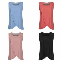 Wholesale Wholesale Breastfeeding Clothes - Pregnancy Maternity Tops Breastfeeding Shirt Nursing Tops Tank For Women Breastfeeding Shirt Clothes 4 Colors 10pcs LJJO4219
