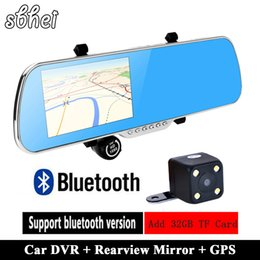 Wholesale Rearview Mirror Gps Android - 5 inch IPS Car GPS Navigation 8GB DVR Rearview mirror Android 4.4 Dual Camera Truck vehicle gps Navigator Europe Navitel