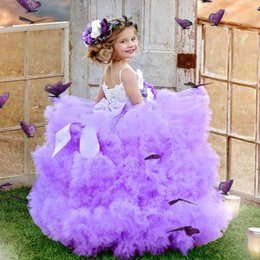 Argentina Light Purple Puffy Girls Pageant Dress Luxury Crystal Feather Flores hechas a mano Vestido de cumpleaños Moda Tulle Ball Girl Flower Girls Vestidos cheap tulle feathers Suministro