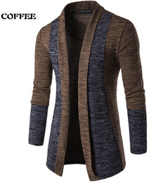 Wholesale Cardigan Mens Korean - New Spring Mens Classic Slim Sweater Fashion Stitching Contrast Color Sweater Korean Mens Warm Long-Sleeved Cardigan Coating