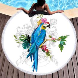 2019 decorações hippie 1 Pcs Rodada Toalha De Praia Papagaio Impresso Toalha De Banho De Microfibra Grande para Adultos Crianças Verão Up Toalla Com Borla