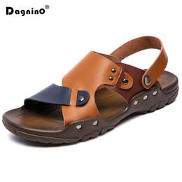 19977ba8f6855a DAGNINO Fashion Luxury Men Casual Sandals Handmade Summer Soft Leather Shoes  Top Quality slippers Men s Flats Beach Flip Flop