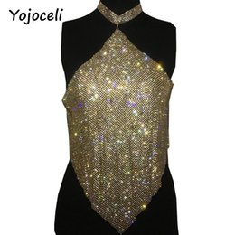 Wholesale Tank Tops Rhinestones - Yojoceli sexy halter neck bling rhinestone top women party club cropped top 2017 beach shinner bustier tank