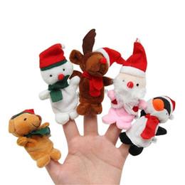 Santa claus stuff spielzeug online-Weihnachten Fingerpuppen Plüschtiere Cartoon Weihnachtsmann Schneemann Handpuppe Niedlich Weihnachten Hirsch Kuscheltiere
