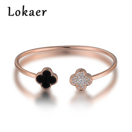 Wholesale Open Clover - Lokaer Open Bangles Women Jewelry Original Design Classic Double Four-leaf Clover Rhinestone Wedding Bracelets Christmas Gifts