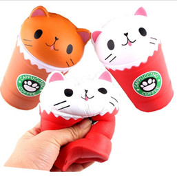 Wholesale squeeze cup - 14cm cat Squishy Cappuccino Coffee Cup Cat Scented Squishy Slow Rising Squeeze Toy Cure Gift Coffee cup Squishy KKA5190