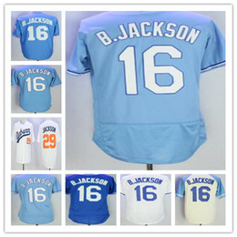 Wholesale Men Qualities - 29 16 28 Bo Jackson Jersey White Throwback VINTAGE Stitched Best Quality Baseball Jerseys free shipping Mixed order