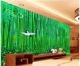 gemalte bambuskunst Rabatt Bambusbambuswaldlandschaftsmalereiwand 3d der chinesischen Art tapeziert Wand für Wohnzimmer