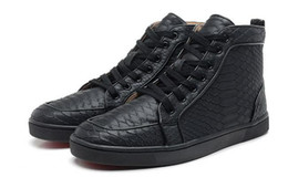 Wholesale Womens Shoes High Top Sneakers - Snakeskin Red Bottom Sneakers Luxury Designer High Top Skate Sneakers Mens Womens Casual Shoes Brand New Comfort Wholesale Price 36-46