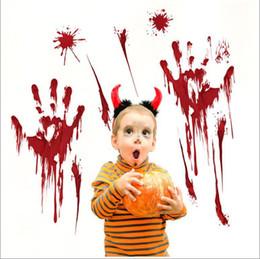 Хэллоуин стены наклейки самолет мультфильм окна стекла наклейки кровь fingermarks кровь следы от ног Летучая мышь дети Home Decor наклейки от