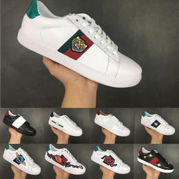 zapatillas de correr Rebajas Ace Luxury Lace-up Running Shoes Flat Casual Shoes para hombres, mujeres, zapatillas de deporte de diseño, cabeza de tigre blanco, cuero genuino, abeja bordada 36-44