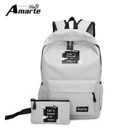 Wholesale Canvas Big Backpack For School - Wholesale-Amarte Canvas Backpacks New Fashion 2 Pcs School Bags for Teenager Girls Big Capacity School Backpack Rucksack
