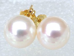 Wholesale pearl earring stud akoya gold - Extremely luxurious 7.8mm AAA+++ round white akoya pearl earring 14 yellow gold