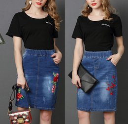 Wholesale denim skirts for women - Fashion Ladies Jeans Embroidered Flowers Stretch Elastic Waistline Denim Skirts for Women High Waist Summer