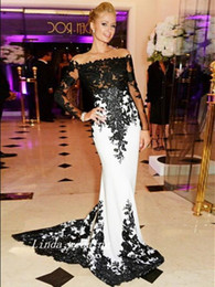 Wholesale Champagne Coloured Prom Dresses - White And Black Colour Trumpet Mermaid Prom Dresses Strapless Long Sheer Sleeves Applique Sweep Train Long Women Gown Evening Dresses