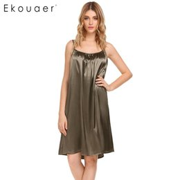 Wholesale Womens Green Shirt Dress - Ekouaer New Casual Nightwear Womens Sexy Sleeveless Solid Ruched Nightgown Dress Summer Loose Slip Chemises Sleepwear