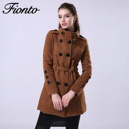 trincea di lana Sconti FIONTO 2016 Nuove Donne Trench Cappotto Di Lana  Inverno Sottile Cappotto Doppio 873ce858e72