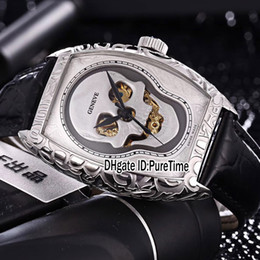2019 orologi del tatuaggio New Croco 8880 Crazy Hours cassa in acciaio Tattoo Carving Skull argento quadrante scheletro automatico Mens Watch in pelle nera Orologi economici 129b2 orologi del tatuaggio economici