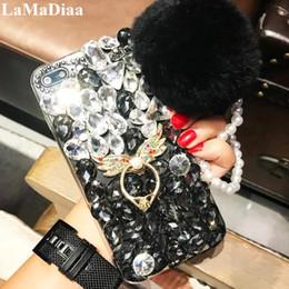 caja del teléfono de cristal diy Rebajas Diseño de moda DIY Bling Crystal Diamond Rhinestone con bola de piel borla cajas del teléfono para iPhone X XR XS MAX 6 6S 6 Plus 7 8 Plus