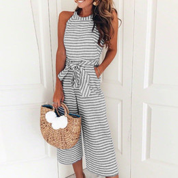 61bd895ccf5e 2018 Women Summer O-neck Bowknot Pants Playsuit Sashes Pockets Sleeveless  Rompers Overalls Sexy Office Lady Striped Jumpsuits