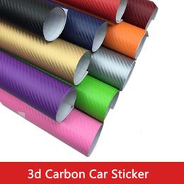 Wholesale Mirror Sticker Roll - 127*30 40 50 cm Waterproof DIY Motorcycle Sticker Car Styling 3D Car Carbon Fiber Vinyl Wrap Roll Film Car Accessories Decal Film