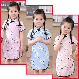 Wholesale Chinese Traditional Style Dress - Plum Club Flower Baby Girls Dress Chinese Traditional Children Qipao Dresses For Girl Cheongsam LinenClothes Kids Vestidos Tops Skirts Blous