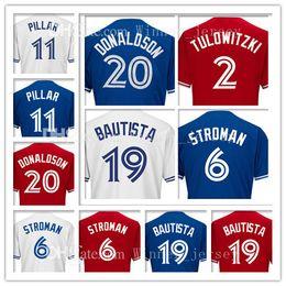 Wholesale Jose Bautista - Toronto 2 Troy Tulowitzki 20 Josh Donaldson Baseball Jerseys Embroidery 19 Jose Bautista 6 Marcus Stroman 11 Kevin Pilar Jersey